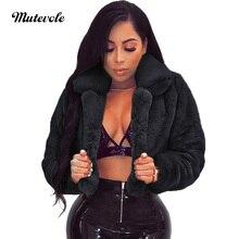 Mutevole Winter Warm Fluffy Faux Fur Coats Jackets Women Furry Fake Fur Cropped Jacket Turn Down Collar Open Front Overcoat