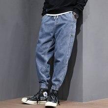 Мода Sreetwear мужские джинсы свободная посадка Сплайсированные дизайнер деним брюки-карго отвисшей нижней размер S-формы 5XL уличная хип-хоп