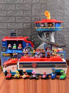Car-Toys Puppy Patrol Action-Figures Bus Canina Birthday-Gifts Music Children with Lookout-Tower