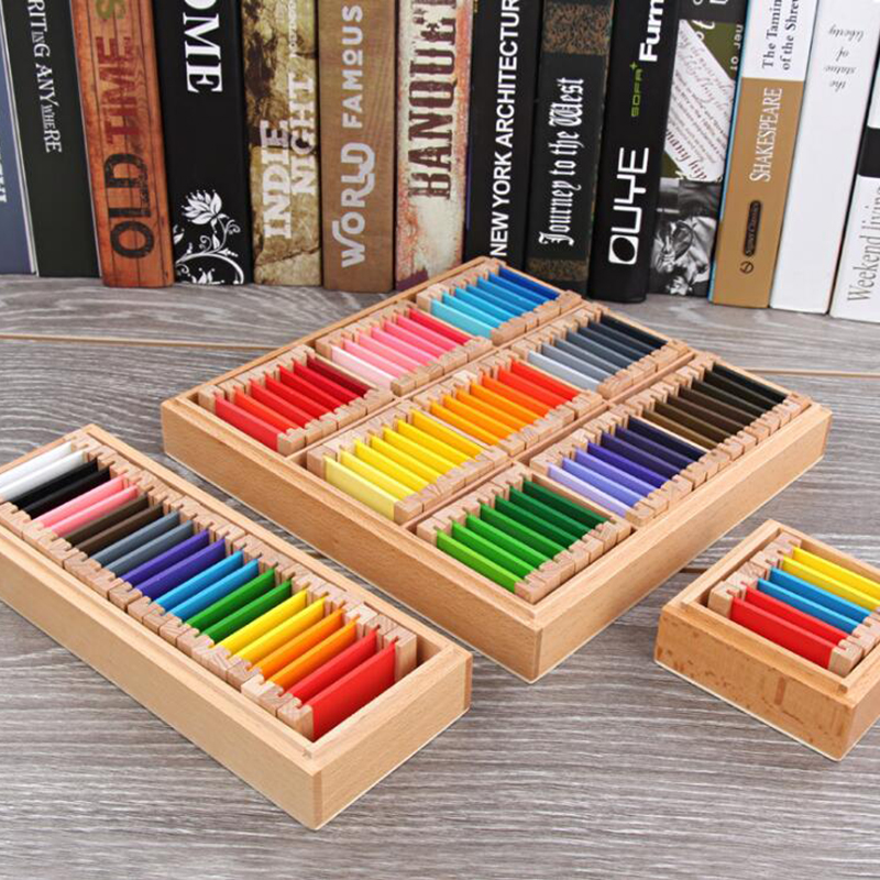 Montessori Wooden Color Card Sensorial Material Learning Color Tablet Wood Puzzle Educational Toys Preschool Training Kids Toy