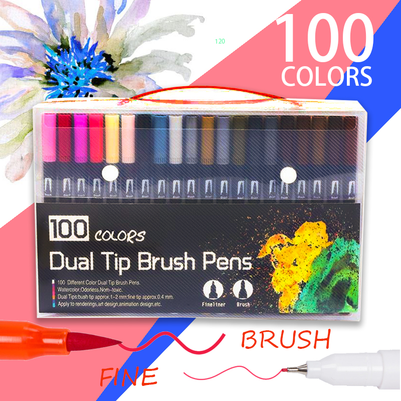 High Quality 120 Colors Dual Fine Tip Brush Art Markers Pens School Supplies For Painting Drawing Comic And Design
