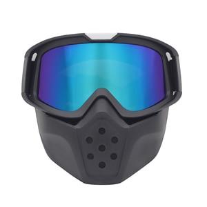 Image 2 - Защитная маска Ретро ветрозащитная Полнолицевая маска для работы на внедорожном шлеме с очками Пылезащитная Противоударная искусственная маска