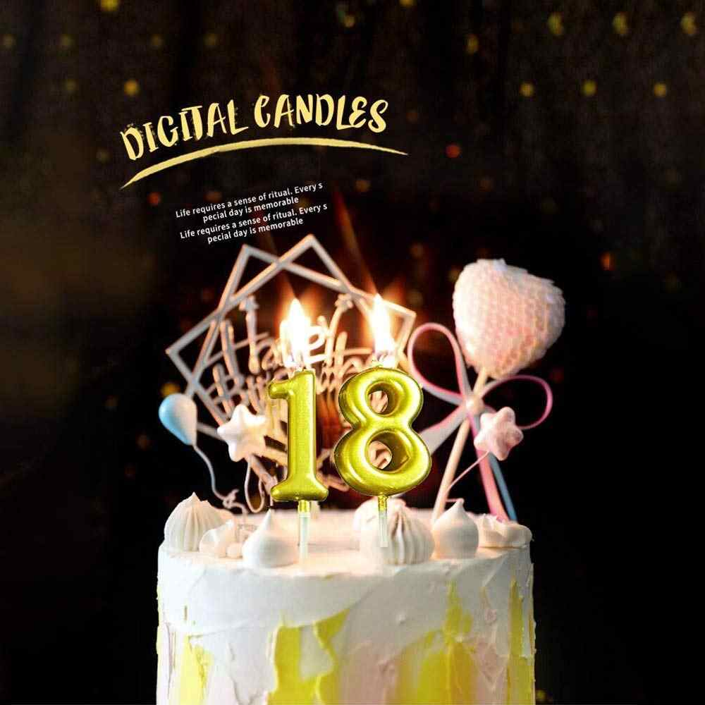 Surprising 1 Pcs Birthday Number Candle For Cake Gold 0 9 Number Candles Personalised Birthday Cards Veneteletsinfo