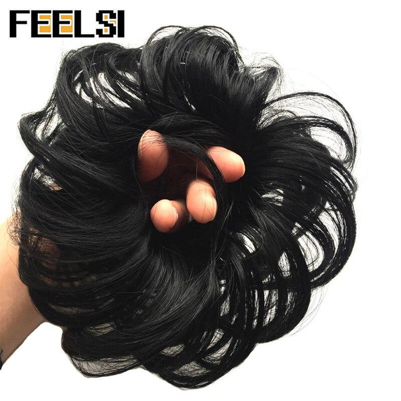 FEELSI синтетические гибкие волосы булочки кудрявые резинки шиньон эластичные грязные волнистые резинки для наращивания конского хвоста для женщин