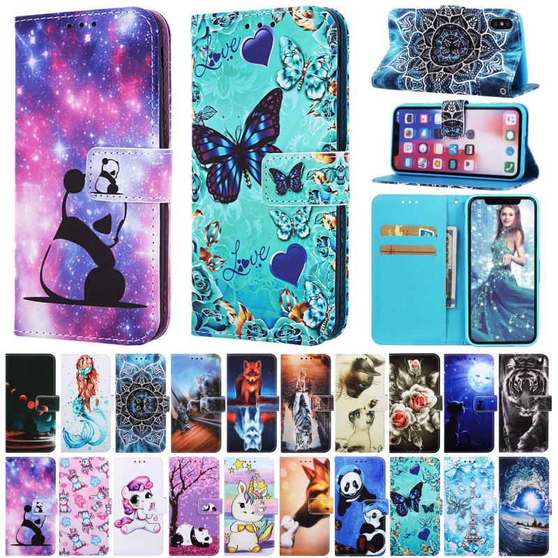 Phone Case For Fundas Huawei Nova 5 Honor 9X 5i Pro 10 Lite Play 8A Y6 2019 Mate 30 20 Lite Leather Wallet Cute Flip Cover P03D