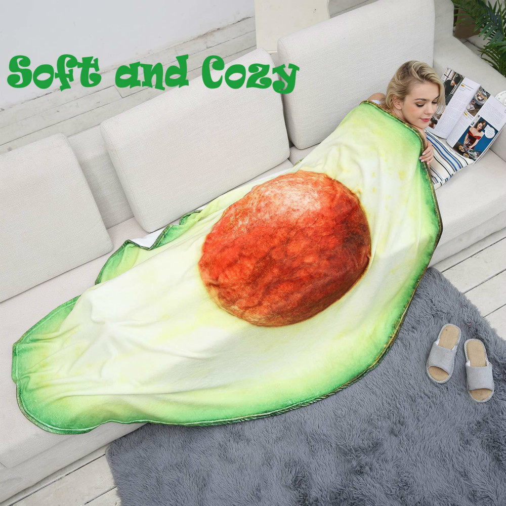 3D Mexico Volume Cake Blanket Beef Avocado Shape Throw Blanket Wool Blanket Food Flannel Funny Lint Carpet image