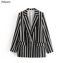 Women Blazer and Jackets 2019 Fall Plus Size Cardigan Outwear Elegant Black White Striped Vintage Overalls