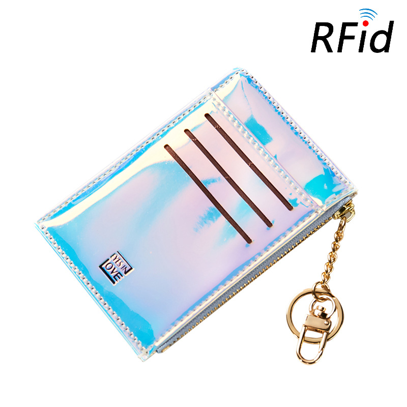 RFID Laser Color Wallet Cute Student Tassel Pendant Trend Short Fashion Card Wallet Coin Purse Girl Ladies Card Bag For Women