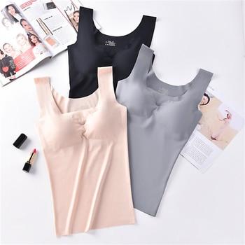 Ice Silk Tank Top Wireless Paded Lingerie Push Up Seamless Padded Vest Crop Top Tee Camisole Feminino Comfortable Sleep Cami 1