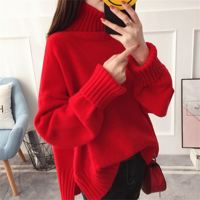 Autumn High collar Split Hem Thick Warm Red Knitted Pullover Sweater Women Loose Plus size Soft Ladies Turtleneck Knit Jumper