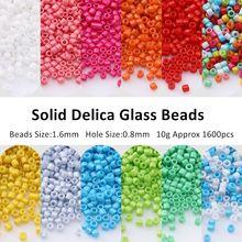 1.6mm 15/0 miyuki delica japanes grânulos de vidro sólido sementes charme para fazer jóias colar pulseira suprimentos diy acessórios