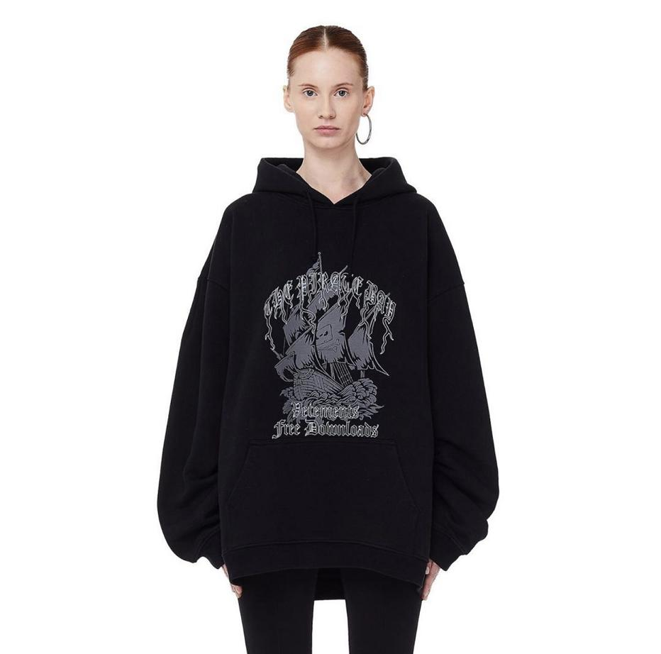 2020 Vetements Hoodies Oversize Pirate Ship Print Vetements Sweatshirts Men Women Streetwear Hip Hop Vetements Pullover