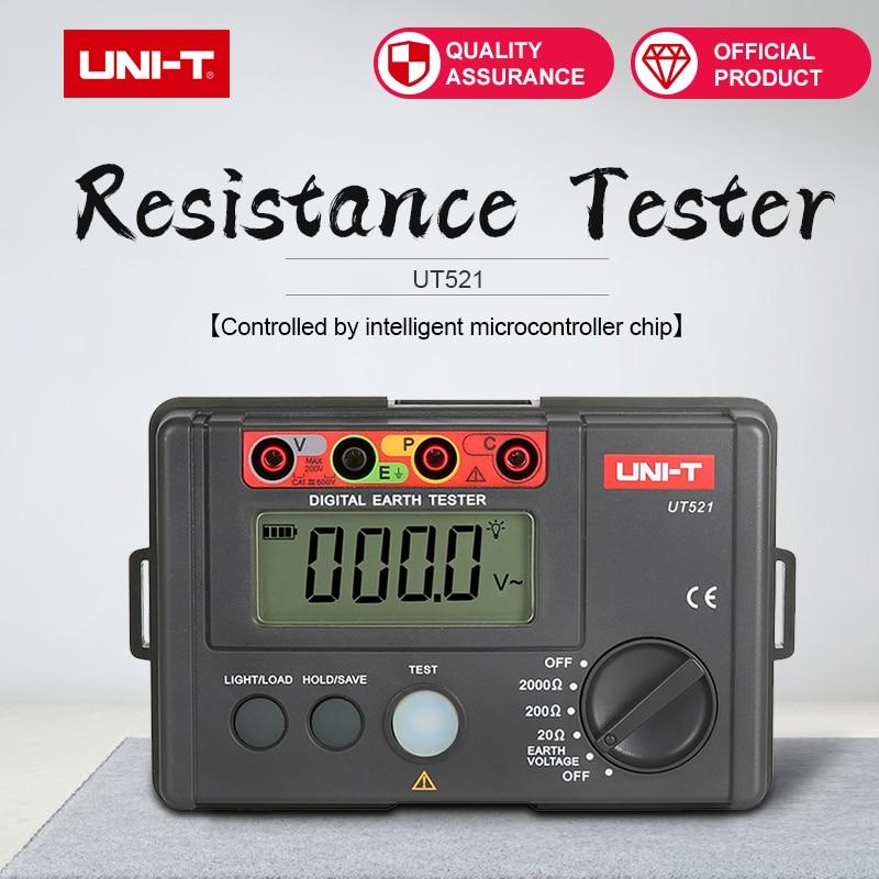 Medidor de Tensão Uni-t Digital Tela v 0-2000 Ohm Terra Resistência Tester Ut521 0-200 Mod. 158111