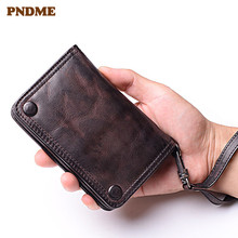 PNDME fashion vintage handmade genuine leather women's wallet simple luxury high quality sheepskin men teens card holder purse