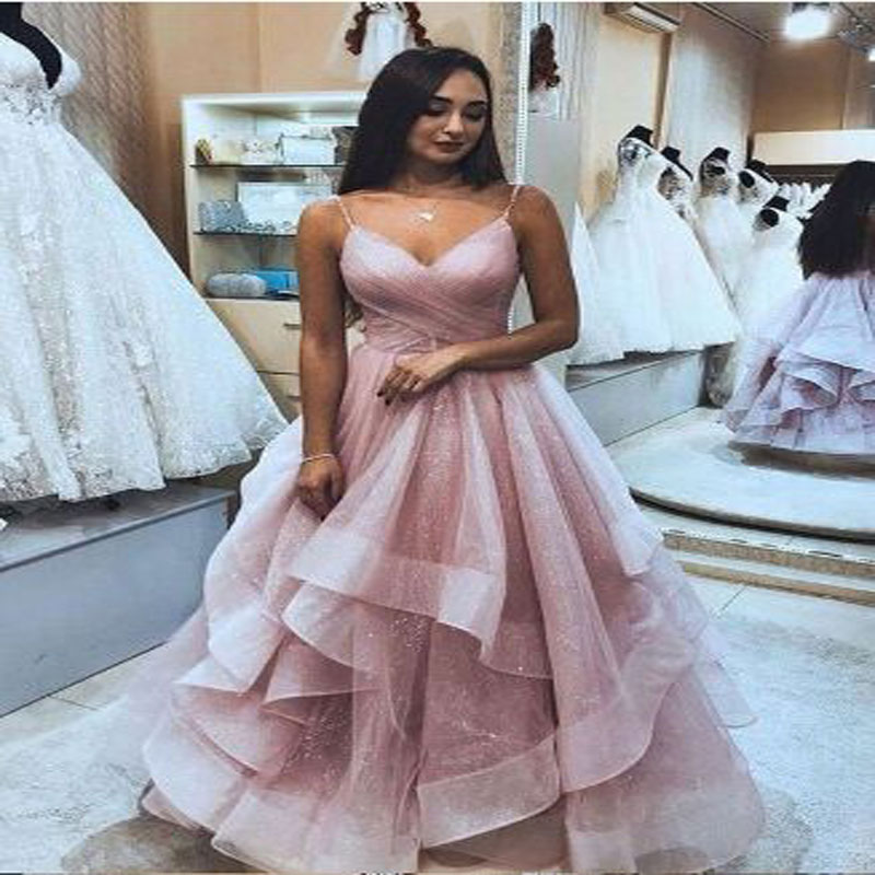 Sparkly Dustystar Tiered Spaghtti Strap A-line   Prom     Dresses   Simple Sleeveless V-neck Tulle Customize Evening Gown For Women