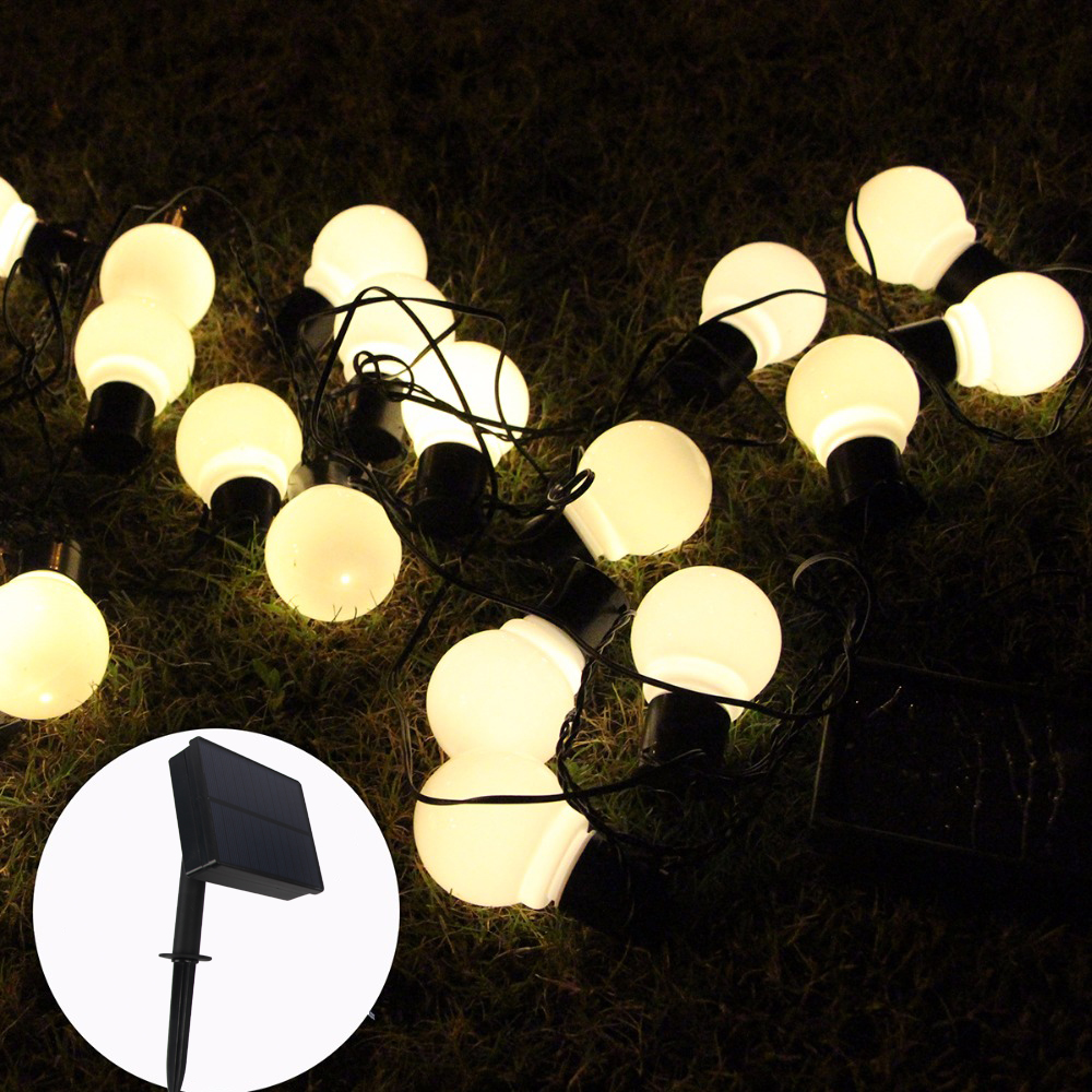 20 LED Outdoor Solar Lamps LED Globe Ball String Fairy Light Solar Light Christmas Garland Waterproof Garden Street Decor Light
