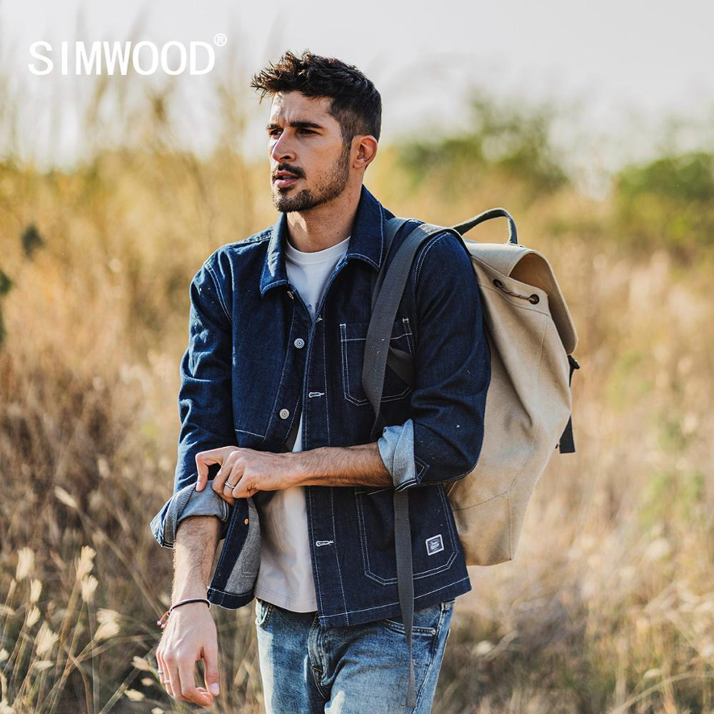 SIMWOOD 2020 Spring New Denim Jacket Men Cargo Chore Outerwear Plus Size Panelled Contrast Stitch 100% Cotton Jackets SJ170252