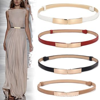 Women Golden Genuine Leather Belt Slender Decorative Waistband Dress Simple All-match Belts Korean Female Fashion One-Suit