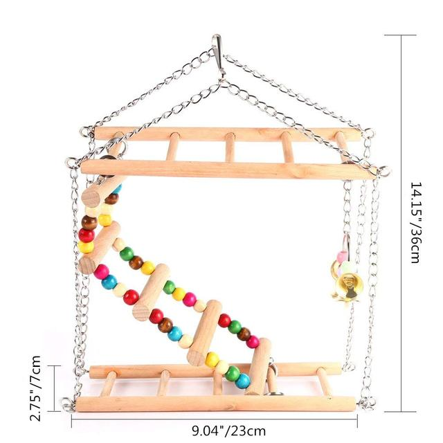 Bird Colorful Wood Swing Climbing Ladder Flexible Rainbow Bridge for Parrot Parakeet Hamster Budgie Cockatiel Cage 4