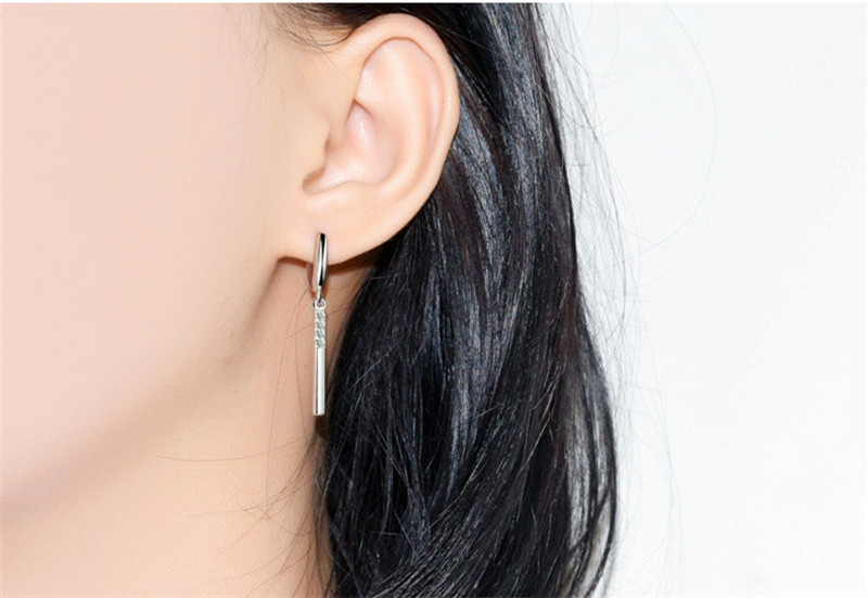 Top Quality 925 Sterling Silver Earrings Female Accessories Zircon Geometric Long Earrings For Girls Lady Party Accessories