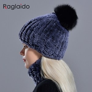 Image 2 - rabbit fur pompom hat ring scarf set womens winter fashionable natural fur knitted caps neck warmers for girls female