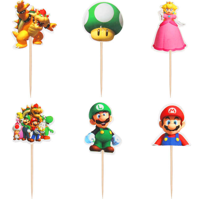 24PCS Super Mario Theme Cupcake Cake Toppers happy birthday With Sticks Decoration Baby Shower Kids Boys Favors Cake Flag