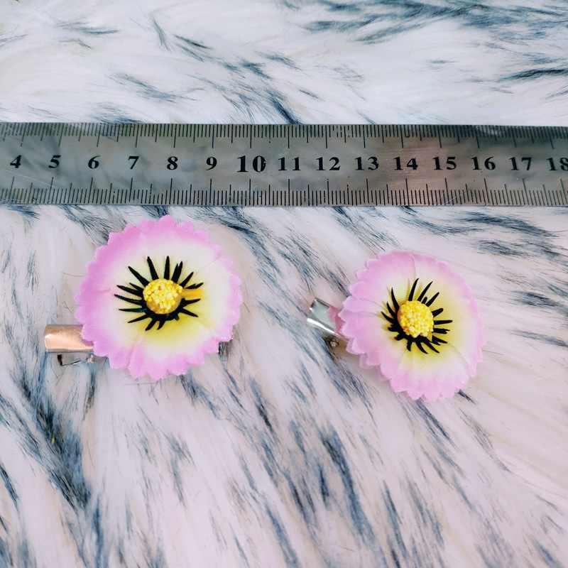 Phụ Nữ Trang Trí Tóc Cô Dâu Đầu Hoa Vải Màu Kid Hoa Nhỏ Kẹp Tóc Kim Cương Giả Gái Cưới Mũ Đội Đầu Tóc