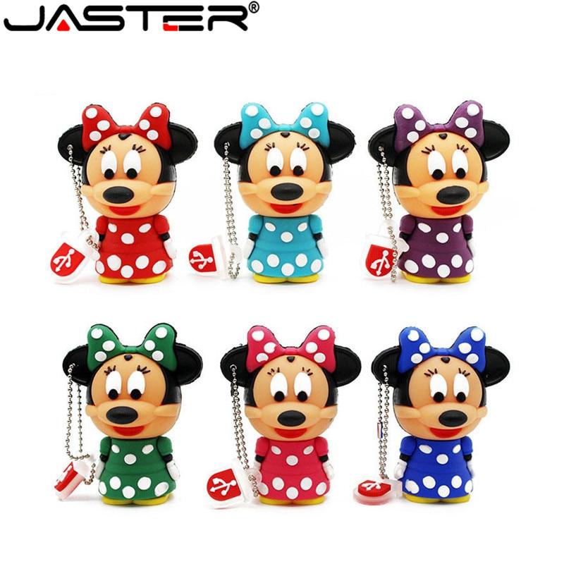 JASTER Cute Mickey Minnie Mouse USB Flash Drive Pendrive 4GB 16GB 32GB 64GB USB Stick External Memory Storage Pen Drive 6 Colors