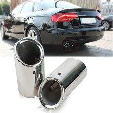 Faros de escape cromados de acero inoxidable para coche, silenciador trasero de extremo de tubo para Audi A4, B8, A4L, Q5, años 2007 a 2014