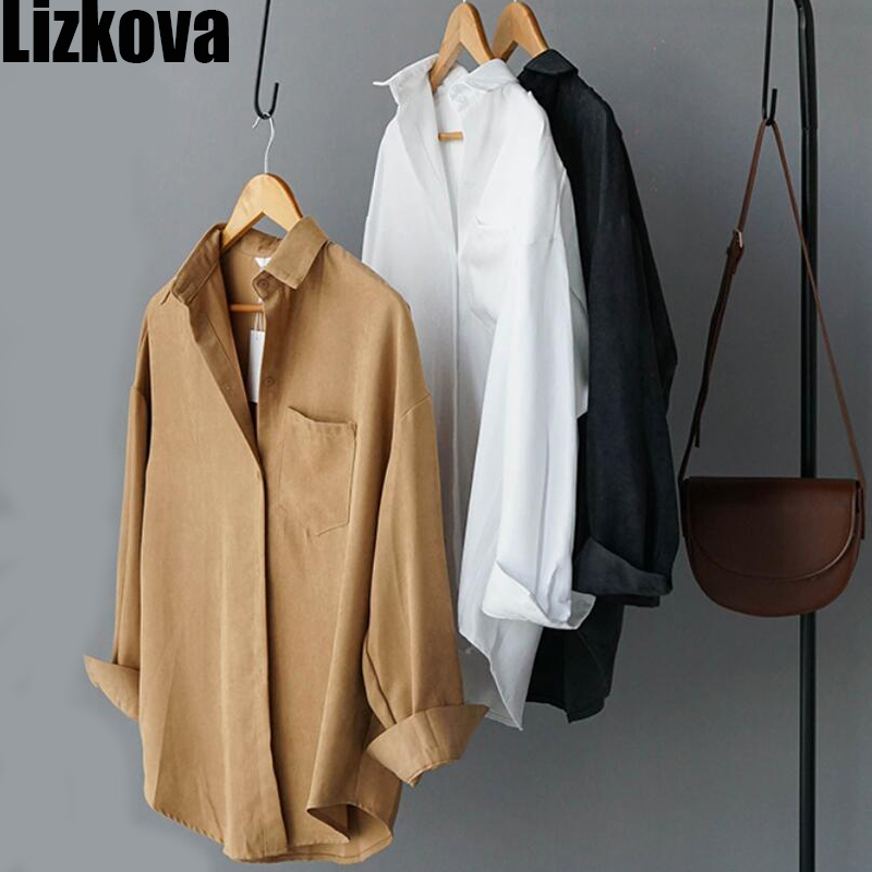 2020 Spring White Formal Shirt Women Suede Long Sleeve Concise Style Lapel Ladies Blouse Streetwear 8866