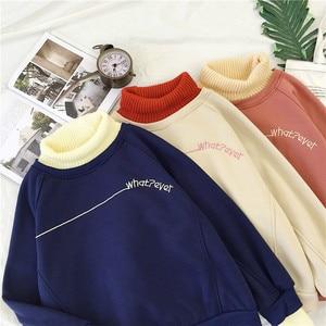 Image 4 - Hoodies Kadın Balıkçı Yaka Patchwork Kalın Kış Dış Giyim Hoodie Kore Yeni Streetwear Bayan Casual Kazak Mektup Uzun Kollu