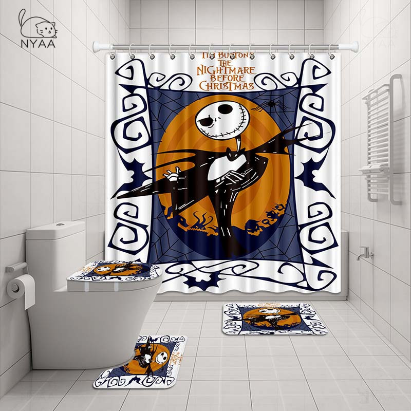 The Nightmare Before Christmas Bathroom Mat 4PCS Shower Curtain Toilet Lid Cover