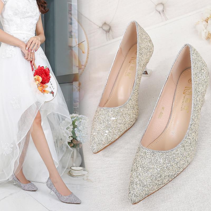 Ev ve Bahçe'ten Ayakkabı Rafları ve Organizatörleri'de Beyaz evlilik ayakkabı ince topuklu evlilik ayakkabı yarı yüksek topuklu gelin ayakkabıları düğün ayakkabı düğün ayakkabı kadın nedime Sho title=