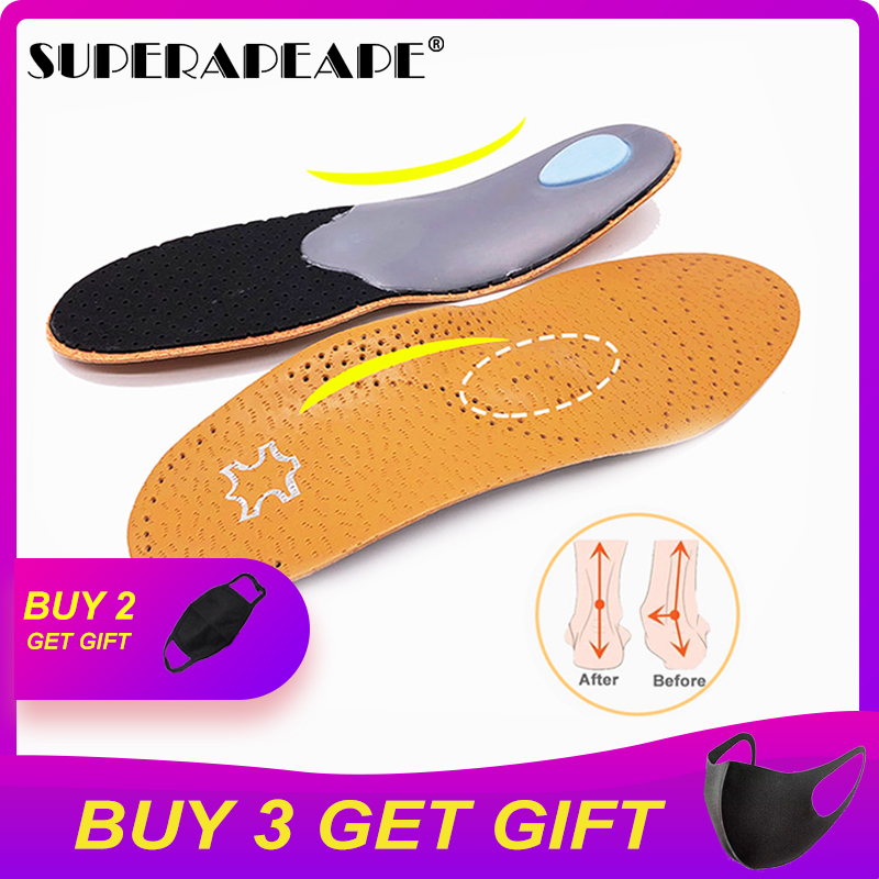 High Quality Leather Orthotic Insole For Flat Feet Arch Support Orthopedic Shoes Sole Insoles For Men And Women Shoes Pad