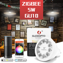 ZIGBEE bombilla LED GU10 para casa inteligente, RGB + CCT, cambio de Color, 5W, foco LED AC100 240V, luz blanca Dual, funciona con Alexa Echo Plus