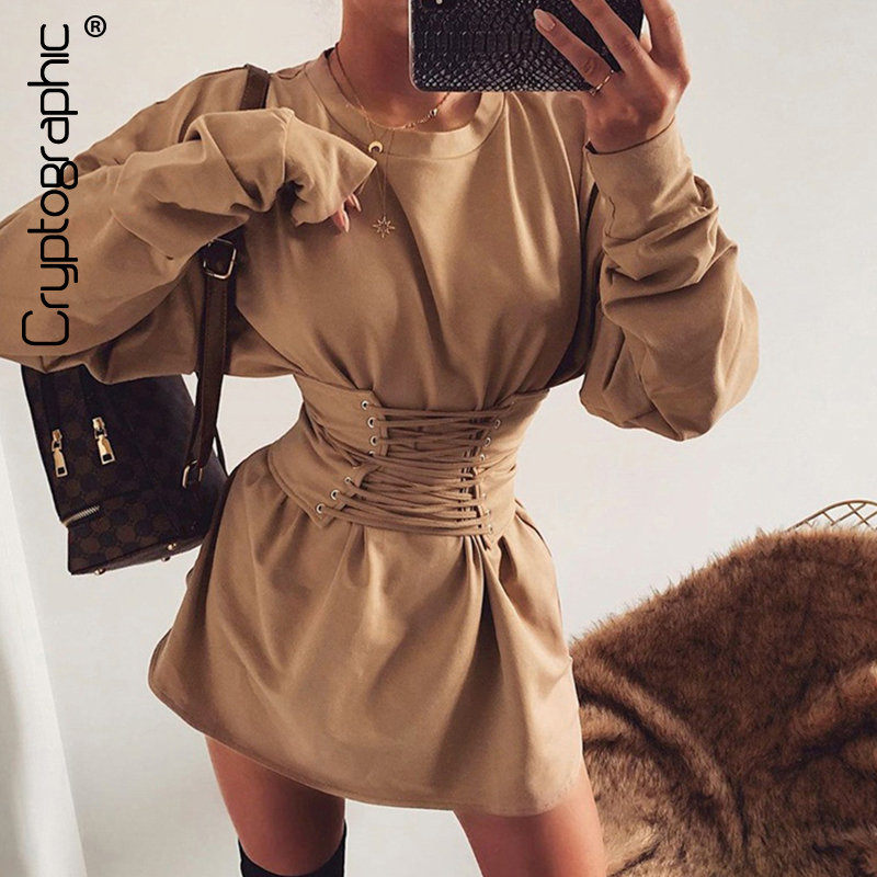 Cryptographic Casual Shirt Dresses For Women Solid Round Neck Long Sleeve Mini Dress Lace Up Belt Fashion Autumn Winter 2019 New
