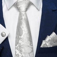 Men Fashion Silver Gray Paisley Pure Color Silk Woven Men