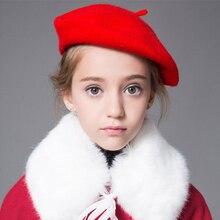 Boinas de primavera-Invierno para niñas a la moda, sombrero de artista, sombrero elegante, boinas Vintage de lana para niños, sombrero de un solo Color, sombreros cálidos y cómodos
