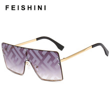 FEISHINI Metal Frame Women Sunglasses Brand Design F word Fa