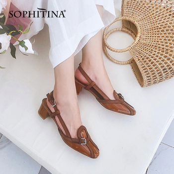 SOPHITINA Women's Sandals Retro Slingback Low Heels Chunky Side Open Square Toe Summer Comfortable Walking Womens Shoes PO611