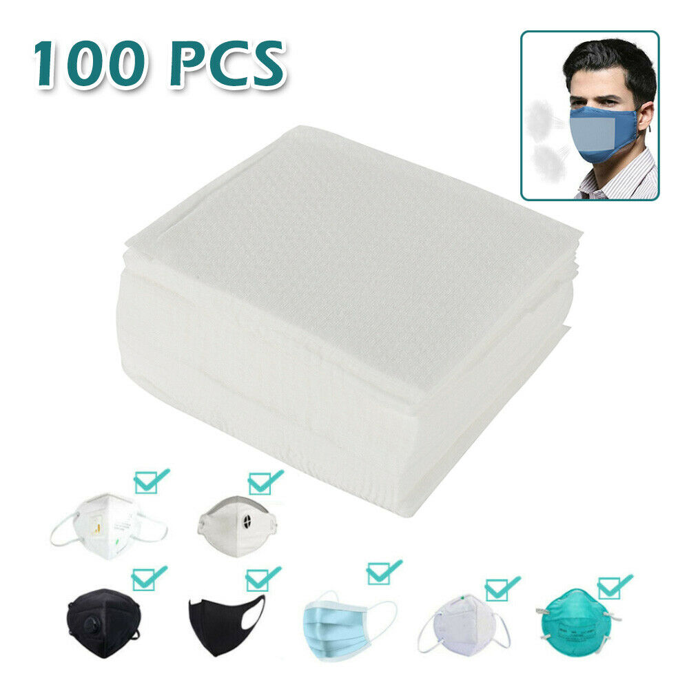 100 Pcs Disposable N95 Activated Face Mask Carbon Filter 3 Layers Breathable PM2.5 Activated Carbon Filter Protective Filter