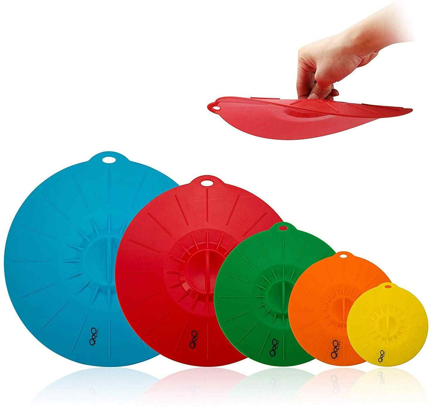 5 pçs bpa livre silicone tampas de sucção alimentos microondas canecas potes tigelas tampas pan pot caps capa cozinha panelas acessórios