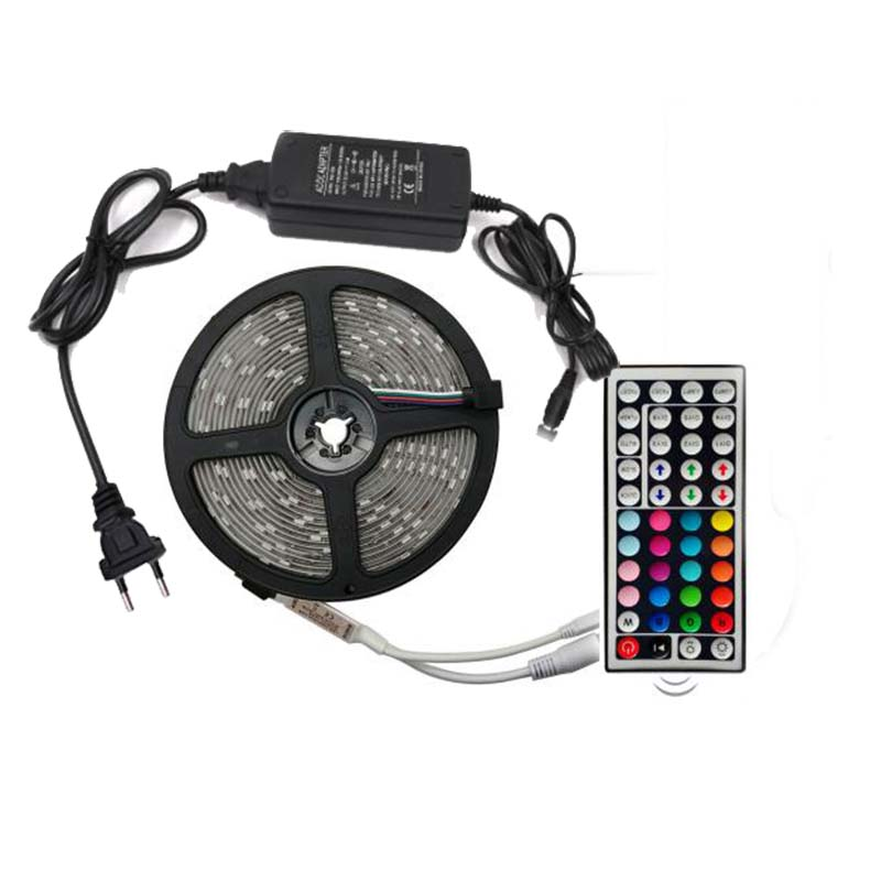 DC12V 5050 RGB Flexible LED Strip Light IP21 Indoor 120Leds/m With Power Supply +44Keys Remote Control
