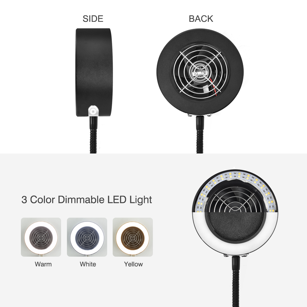 Tools : Toolour Soldering Smoking Instrument USB LED Lamp Illumination Exhaust Fan Function 3 in 1 Equipped with Spare Filter Sponge