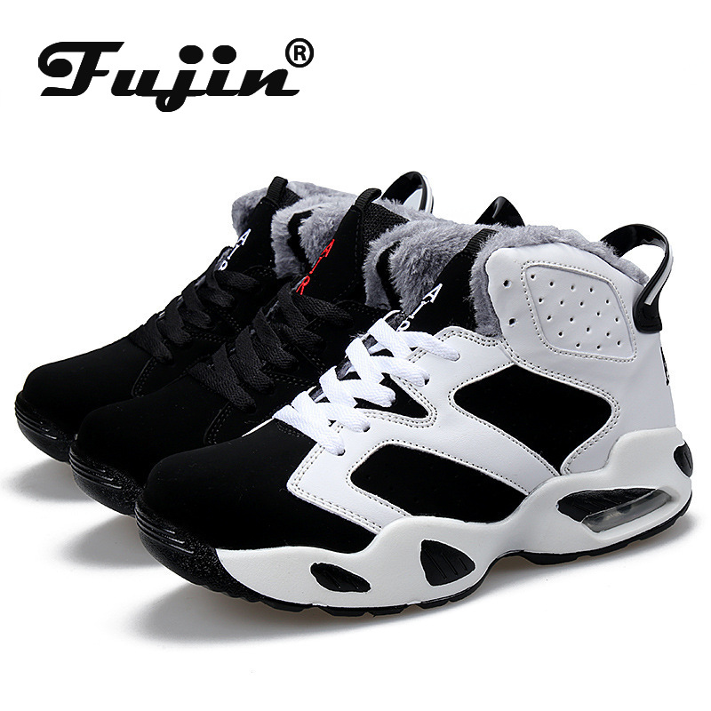 Fujin Sneakers Winter Air Cushion Shoes Shock Absorbing High Top Combat Boots Students Leisure Plus Velvet Warm Cotton Shoes
