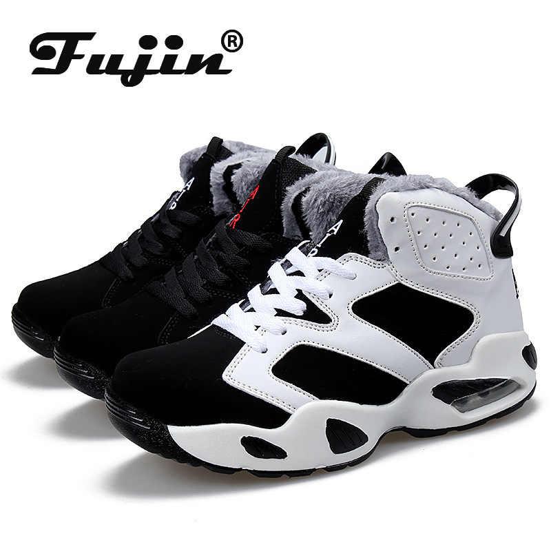 Fujin Sneakers kış hava yastığı ayakkabıları şok emici yüksek üst savaş botları öğrenciler eğlence artı kadife sıcak pamuklu ayakkabılar