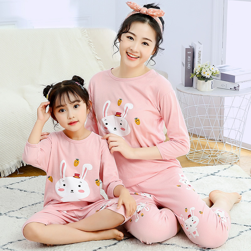 Mommy and Daughter Matching Outfits Pajamas Family Look Mother Daughter Son Homewear Animal Pyjamas Kids Mommy And Me Clothes 2