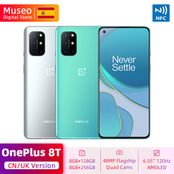 New Global ROM OnePlus 8T 8 T Smartphone Snapdragon 865 5G 6.55'' 120Hz Fluid Display 48MP Quad Camera Warp Charge 65 NFC
