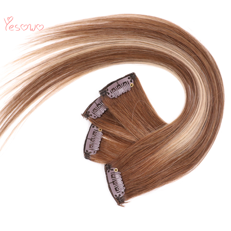 Yesowo 4/27/4# Full Head 9PCS Clip Human Hair Wholesale Cheap Brazilian Straight Remy Human Clip In Hair Extensions