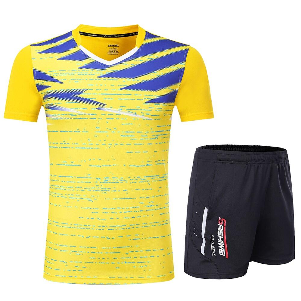 Новинка, быстросохнущая футболка для бадминтона для мужчин/женщин, спортивный комплект для бадминтона, настольный теннис, Мужская форменная футболка, теннисные рубашки, одежда 3869 - Цвет: Yellow